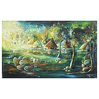 'A Quiet Village' (2008) - Landscape Expressionist Painting