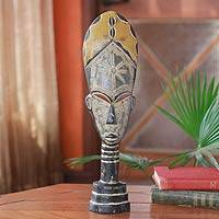 Malian wood mask sculpture, 'Eldest Wife' - Malian wood mask sculpture