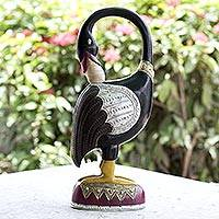 Wood sculpture, 'Sankofa Bird Message' - Wood sculpture