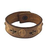 Men's leather wristband bracelet, 'Cinnamon Adinkra Celebration' - Men's leather wristband bracelet