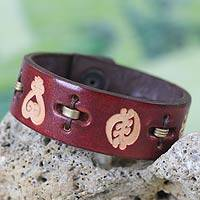Men's leather wristband bracelet, 'Mahogany Adinkra Celebration'