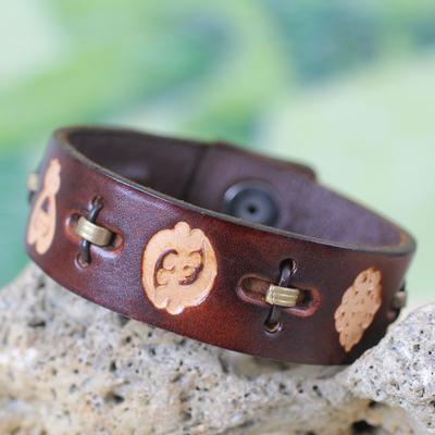 Men's leather wristband bracelet, 'Brown Adinkra Celebration' - Men's African Leather Wristband Bracelet