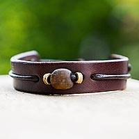 Men's leather wristband bracelet, 'Brown Standout'