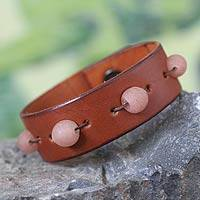 Leather wristband bracelet, 'Cinnamon Beaded Feast' - Recycled Beads and Leather Wristband Bracelet