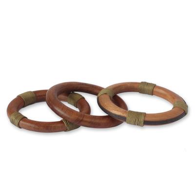 Wood Bangle Bracelets (Set of 3)