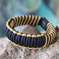 Men's wristband bracelet, 'Amina in Navy and Gold' - Men's African Wristband Bracelet