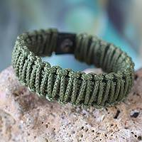 Men's wristband bracelet, 'Amina in Olive Green' - Men's wristband bracelet