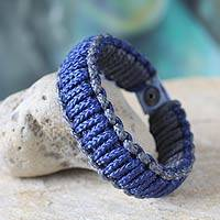 Men's wristband bracelet, 'Blue and Gray Amina' - Men's wristband bracelet