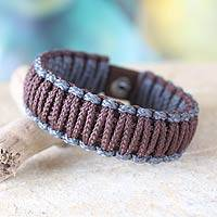 Men's wristband bracelet, 'Gray and Brown Amina' - Men's Wristband Bracelet