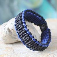 Men's wristband bracelet, 'Amina in Black and Blue' - Men's wristband bracelet