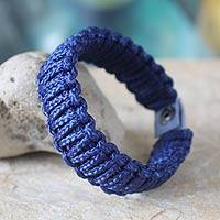 Men's wristband bracelet, 'Amina in Blue' - Men's wristband bracelet