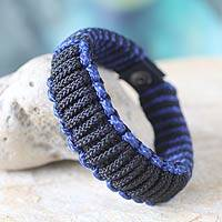 Men's wristband bracelet, 'Blue and Black Amina'