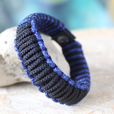 Men's wristband bracelet, 'Blue and Black Amina' - Men's Wristband Bracelet from Africa