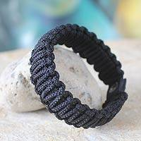Men's wristband bracelet, 'Amina in Black' - Handmade Men's Wristband Bracelet