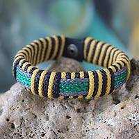 Men's wristband bracelet, 'Soul of Africa' - Men's Handcrafted Wristband Bracelet