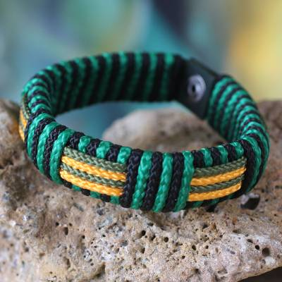 Men's wristband bracelet, 'Essence of Africa' - Men's Wristband Bracelet