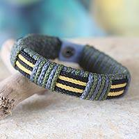 Men's wristband bracelet, 'Courage of Africa' - Men's wristband bracelet