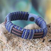Men's wristband bracelet, 'Power of Africa' - Men's Hand Made Wristband Bracelet