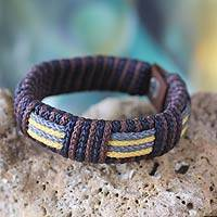 Men's wristband bracelet, 'Song of Africa' - Men's Eco-Friendly Handcrafted Wristband from West Africa