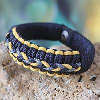 Men's wristband bracelet, 'Blue and Yellow Hausa' - Men's Wristband Bracelet