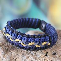 Men's wristband bracelet, 'Blue and Black Hausa' - Men's Hand Made Wristband Bracelet