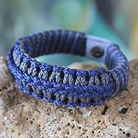 Men's wristband bracelet, 'Blue and Gray Hausa' - Men's wristband bracelet
