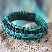 Men's wristband bracelet, 'Blue and Green Hausa' - Men's wristband bracelet