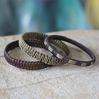 Bangle bracelets, 'Fulani Multicolor Treasure' (set of 3) - Linen Bangle Bracelets (Set of 3)
