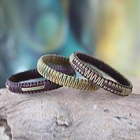 Bangle bracelets, 'Fulani Kente Treasure' (set of 3) - Bangle bracelets (Set of 3)