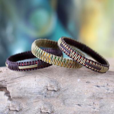 Bangle bracelets, 'Fulani Kente Treasure' (set of 3) - Bangle bracelets (Set of 3)