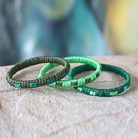 Bangle bracelets, 'Eden Green' (set of 3) - Bangle Bracelet from Africa (Set of 3)