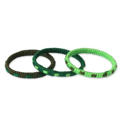 Bangle bracelets, 'Eden Green' (set of 3) - Bangle Bracelet from Africa (Set of 3)