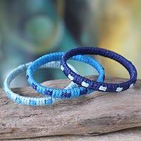 Bangle bracelets, 'Blue Fantasy' (set of 3) - Bangle bracelets (Set of 3)