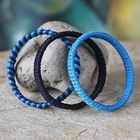 Bangle bracelets, 'Evening Tide' (set of 3) - Bangle bracelets (Set of 3)