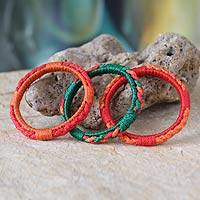 Bangle bracelets, 'Sunny Akan Enigma' (set of 3) - Bangle bracelets (Set of 3)