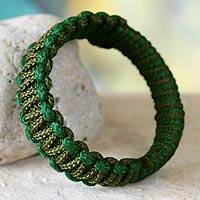 Bangle bracelet, 'Queen Amina in Green' - Bangle bracelet