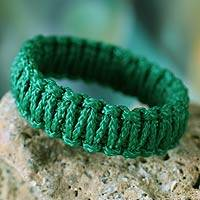 Bangle bracelet, 'Queen Amina in Emerald Green' - Bangle bracelet