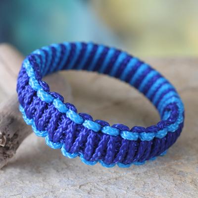 Bangle bracelet, 'Queen Amina in Blue Parallel' - Bangle bracelet