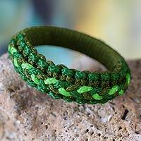 Bangle bracelet, 'Green Hausa' - Bangle bracelet