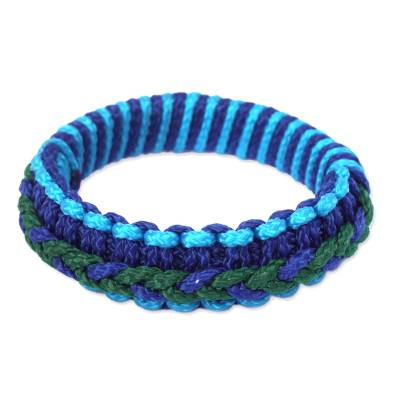 Bangle bracelet, 'Blue and Green Hausa' - Hand Crafted African Bangle Bracelet