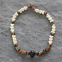 Agate and tiger's eye beaded necklace, 'Akan Blessing' - Agate and tiger's eye beaded necklace