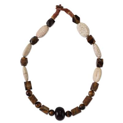 Agate and tiger's eye beaded necklace, 'Eye of the Queen' - Agate and tiger's eye beaded necklace