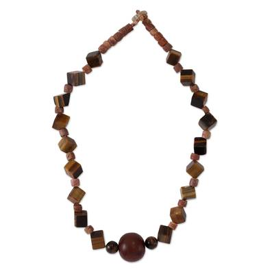 Tiger's eye and bauxite beaded necklace, 'Akan Praise' - Tiger's eye and bauxite beaded necklace