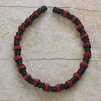 Recycled beaded necklace, 'Never Changing' - Recycled beaded necklace