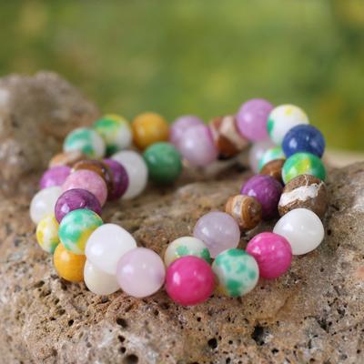 Beaded stretch bracelets, 'Odo Be Ba' (pair) - Beaded Agate Stretch Bracelet (Pair)