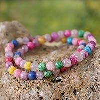 Beaded stretch bracelets, 'San Bra' (pair) - Beaded Agate Stretch Bracelets (Pair)