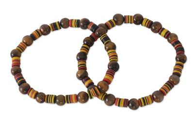 Tiger's eye stretch bracelets, 'Akoma Pa' (pair) - Tiger's Eye Beaded Stretch Bracelets (Pair)