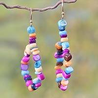 Beaded earrings, 'Obrempon' - Hand Made Agate Earrings from Africa