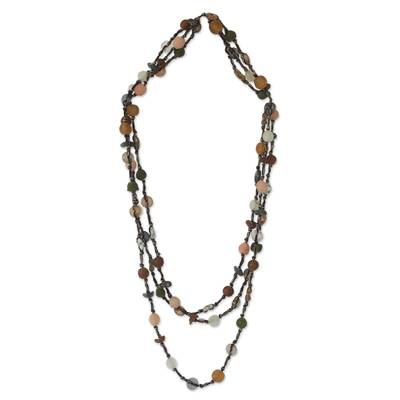 Recycled bead long necklace, 'Lady of Lagos' - Modern Recycled Glass Beaded Necklace