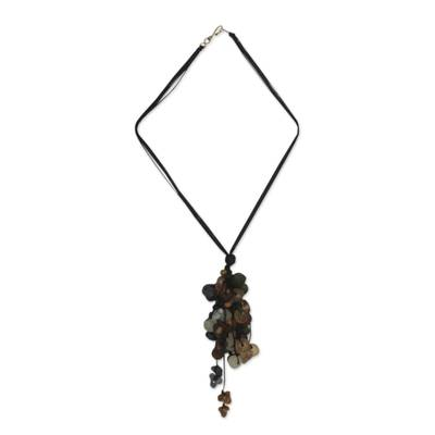 Wood and recycled glass pendant necklace, 'Earth Medley' - Wood and recycled glass pendant necklace